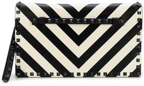 Valentino striped Rockstud clutch