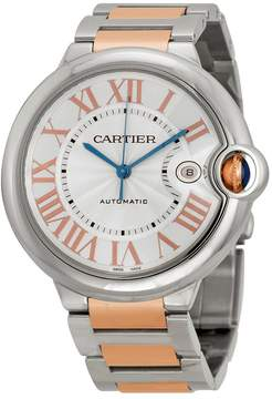 Cartier Ballon Bleu De Silver Dial Stainless Steel and 18kt Pink Gold Watch