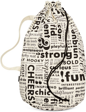 Kate Spade Brand Words Laundry Bag - BLACK/CREAM - STYLE