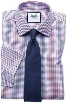 Charles Tyrwhitt Classic Fit Non-Iron Poplin Short Sleeve Blue and Red Cotton Dress Shirt Size 20/Short
