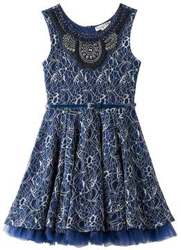 Knitworks Girls 7-16 Rhinestone Collar Belted Lace Dress