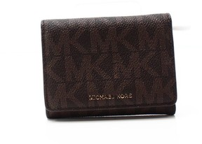 Michael Kors Brown PVC Signature Liane Billfold Trifold Wallet - BROWNS - STYLE