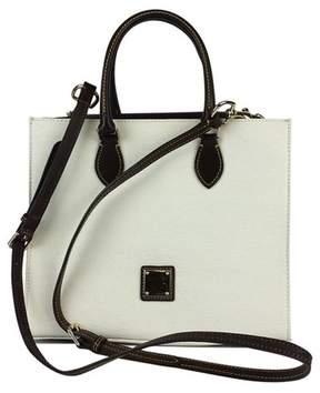 Dooney & Bourke White & Brown Textured Leather Janine Satchel - WHITE - STYLE