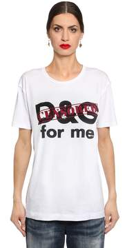 Dolce & Gabbana Censored Printed Cotton Jersey T-Shirt