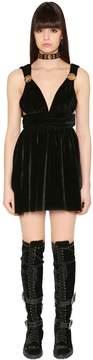 Fausto Puglisi Flared & Studded Velvet Mini Dress