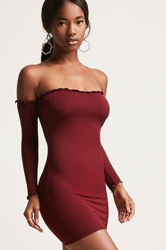 Forever 21 Lettuce Edge Off-the-Shoulder Dress