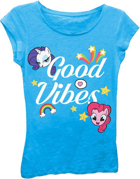 Asstd National Brand My Little Pony Girls' Good Vibes Short Sleeve Graphic T-Shirt with Gold Glitter