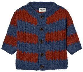 Bobo Choses Blue and Red Striped Knitted Cardigan