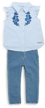 Hudson Little Girl's Two-Piece Embroidered Top and Jeans Set