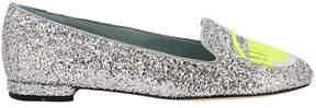 Chiara Ferragni Ballet Flats Loafers Logomania With Round Toe Maxi Embroidery Of Fluo Eyes Flirting