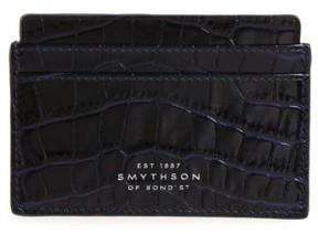 Smythson Women's Mara Tiered Croc Embossed Leather Card Holder - Blue
