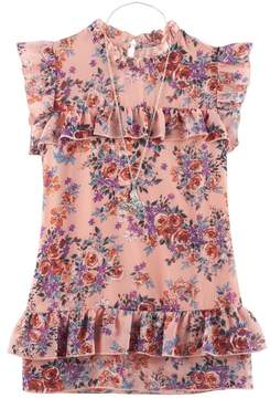 Knitworks Girls 7-16 Floral Ruffled Chiffon Top with Necklace