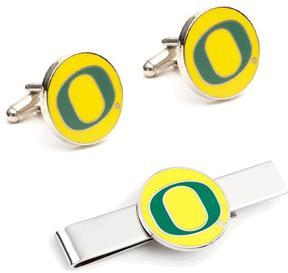 Ice Oregon Ducks Cufflinks and Tie Bar Gift Set