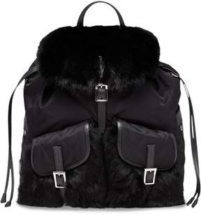 Prada Saffiano and fur trimmed backpack