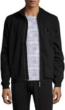 Bikkembergs Men's Stand Collar Cotton Zip Front Sweater