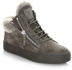 Giuseppe Zanotti Shearling & Suede Mid-Top Sneakers