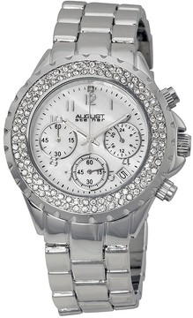 August Steiner Chronograph Mother of Pearl Dial Stainless Steel Ladies Watch