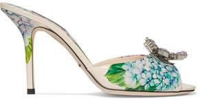 Dolce & Gabbana Crystal-embellished Floral-print Glossed-leather Mules - Blue