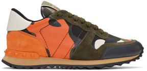 Valentino Green and Orange Garavani Camo Rockrunner Sneakers