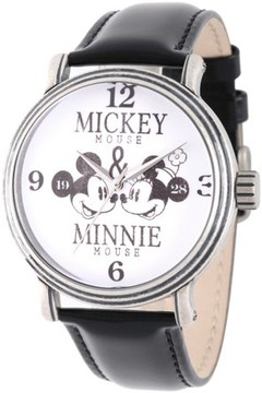 Disney Mickey Mouse and Minnie Mouse Men's Antique Silver Vintage Alloy Watch, Black Leather Strap