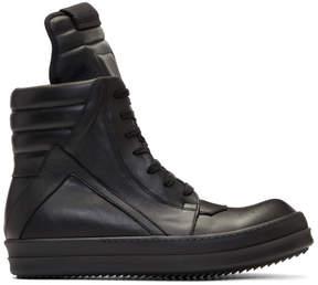 Rick Owens Black Geobasket High Sneakers