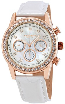 Akribos XXIV Akribos GMT Multi-Function Rose Gold-Tone Ladies Watch AK556WTR
