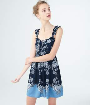 Aeropostale Floral Lace-Up Fit & Flare Dress