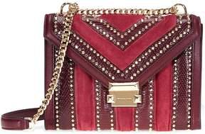 Michael Kors Whitney Large Mixed-Media Shoulder Bag- Red