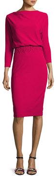 Badgley Mischka 3/4-Sleeve Stretch Crepe Blouson Dress, Pink