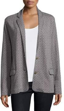 Joan Vass Two-Button Herringbone Blazer, Black/Ivory