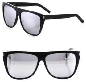 Saint Laurent 59MM Mirrored Oversized Flat-Top Sunglasses