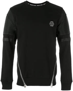 Philipp Plein zipped biker patch sweatshirt
