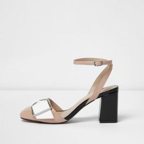 River Island Womens Nude ankle strap buckle block heels