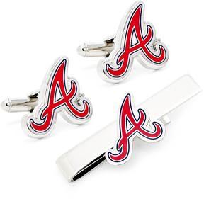 Ice Atlanta Braves Cufflinks and Tie Bar Gift Set