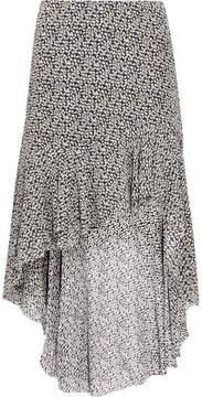 IRO Asymmetric Floral-print Georgette Skirt - Black