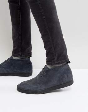 Fred Perry Shields Mid Suede Crepe Sneakers in Charcoal
