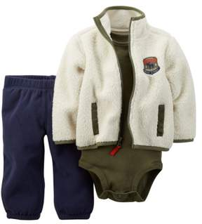 Carter's Baby Clothing Outfit Boys 3-Piece Sherpa Cardigan Set Ivory