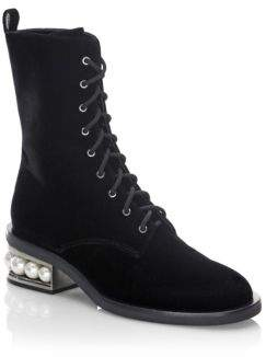 Nicholas Kirkwood Casati Pearly-Heel Velvet Combat Boots