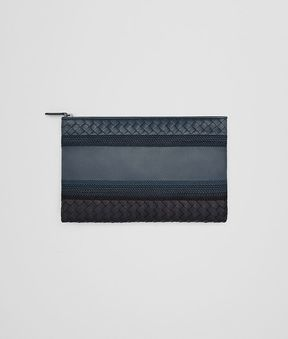 Bottega Veneta Medium Document Case In Denim Tourmaline Embroidered Nappa Leather, Intrecciato Details