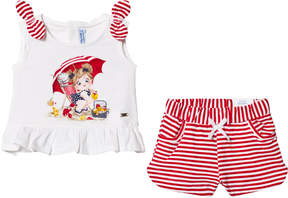 Mayoral Red Stripe Shorts and White Graphic Tee Set