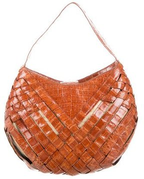 Nancy Gonzalez Crocodile Woven Shoulder Bag