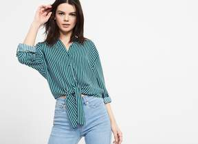 Dynamite Knot Front Button Up Blouse
