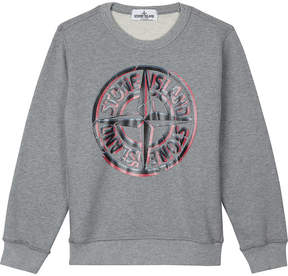 Stone Island Logo print cotton sweatshirt 4-14 years
