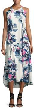 Donna Ricco Sleeveless Ruffled High-Low Dress, White Pattern