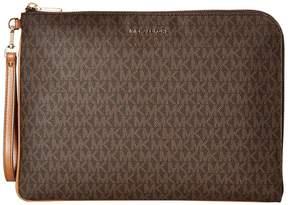 MICHAEL Michael Kors Mercer Large Tech Zip Clutch Clutch Handbags - BROWN - STYLE