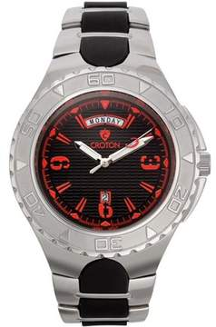 Croton Men's Super C Quartz Watch with Black Dial & Red Markers and Stainless & Silicon Bracelet