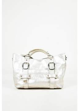 Kooba Pre-owned Metallic Silver Crinkled Leather Top Handle Bag.