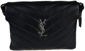 Saint Laurent Monogram Quilted Shoulder Bag - BLACK - STYLE
