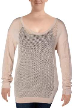Calvin Klein Jeans Womens Mesh Cut-Out Crewneck Sweater