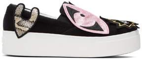 Kenzo Black K-Patch Platform Slip-On Sneakers